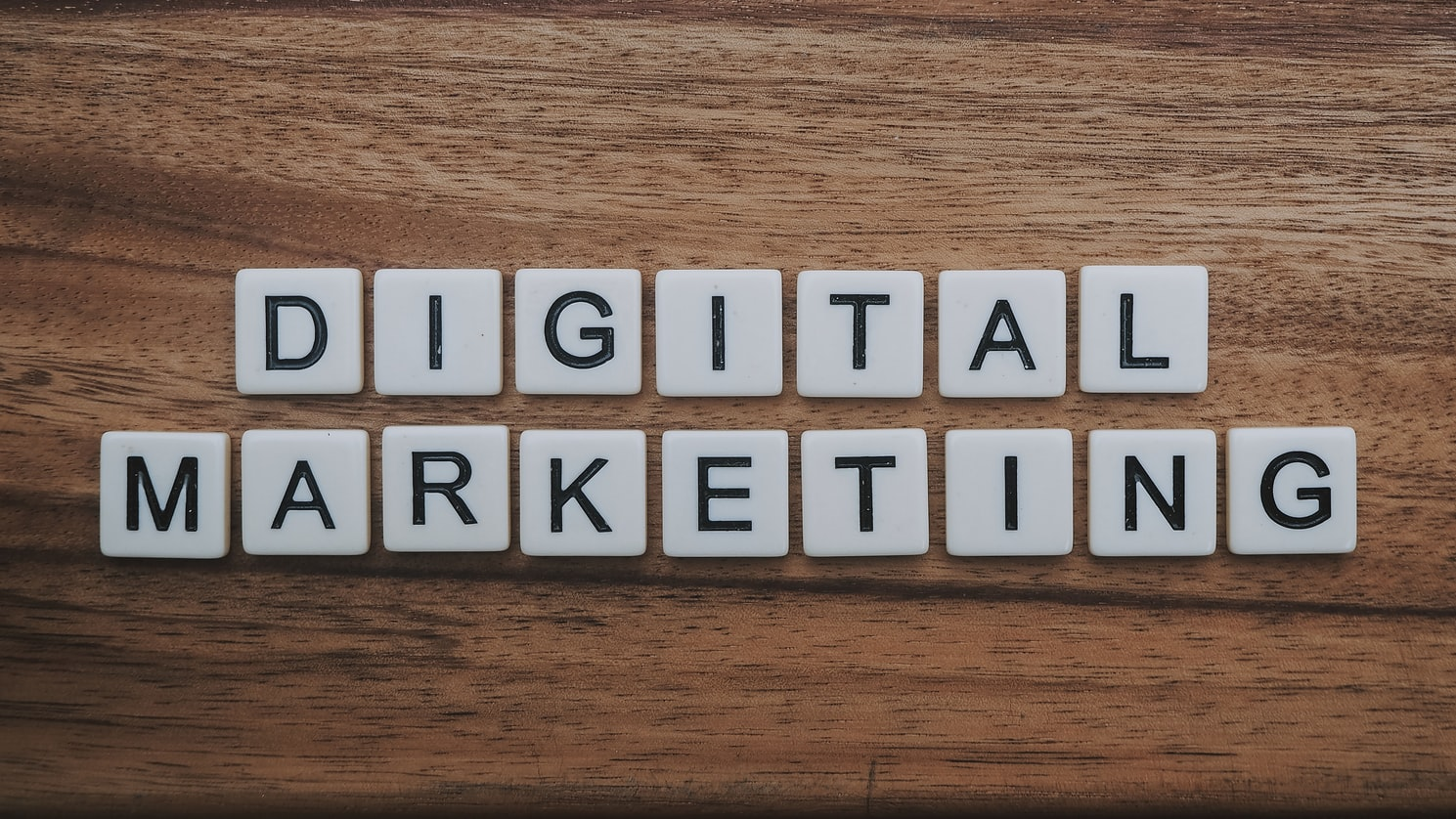 """Scrabble tiles spelling out the words """"digital marketing"""""""