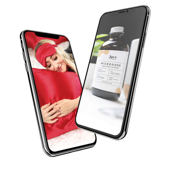 Two cellphones showing a woman sleeping on a red pillow and a bottle of microdose concentrate.