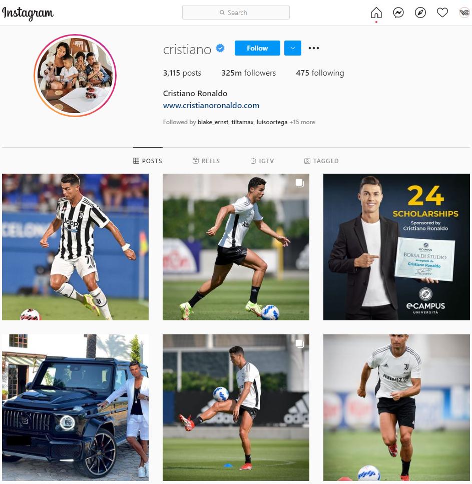 Cristiano Ronaldo Instagram Influencer Marketing Screenshot