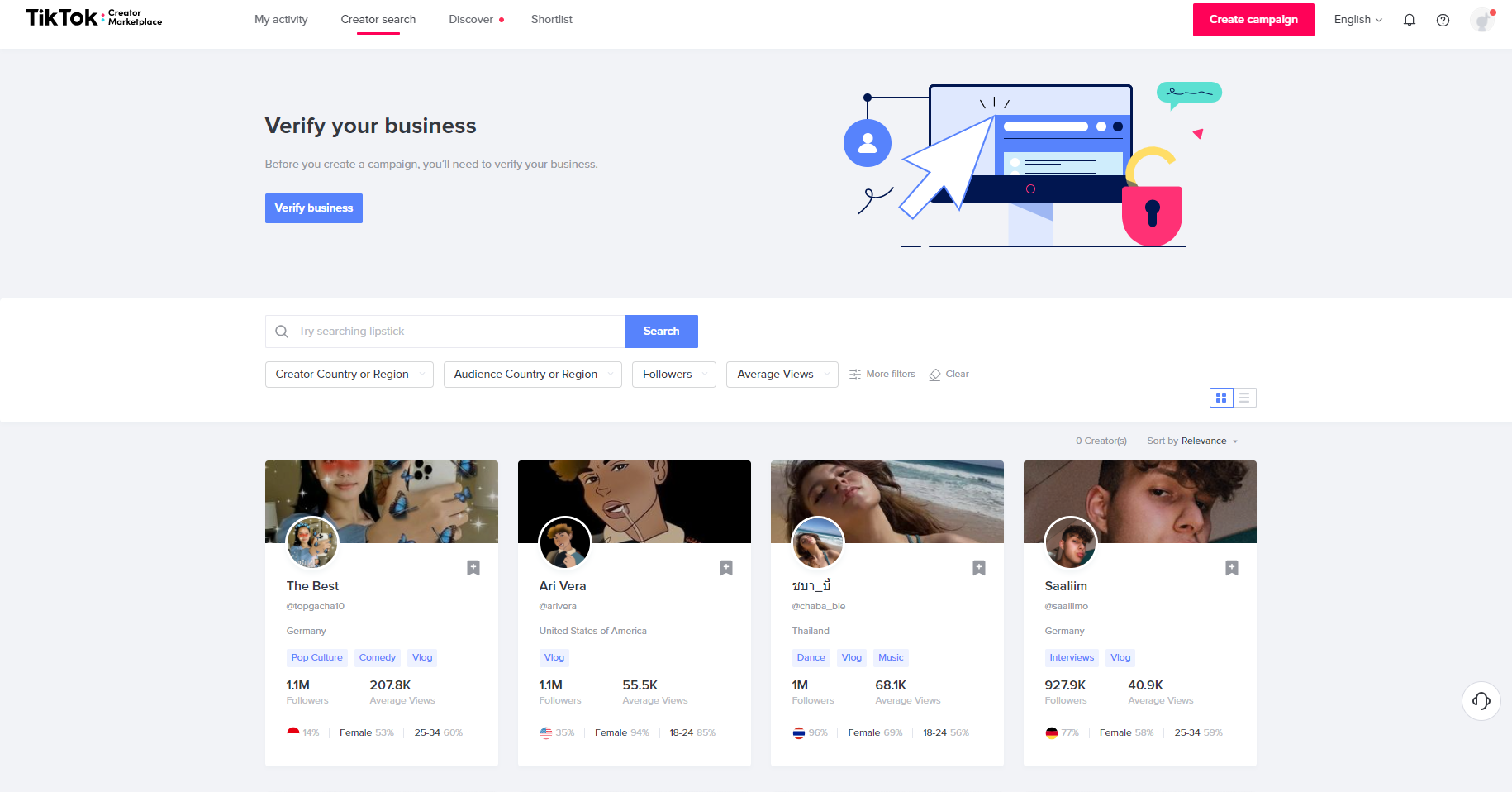 Influencers on TikTok Creators Marketplace Screenshot