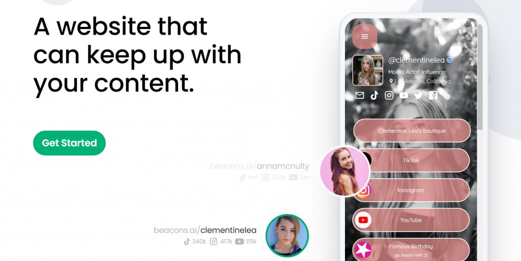 Organic Marketing Screenshot of Beacon.io App Creator Landing Page