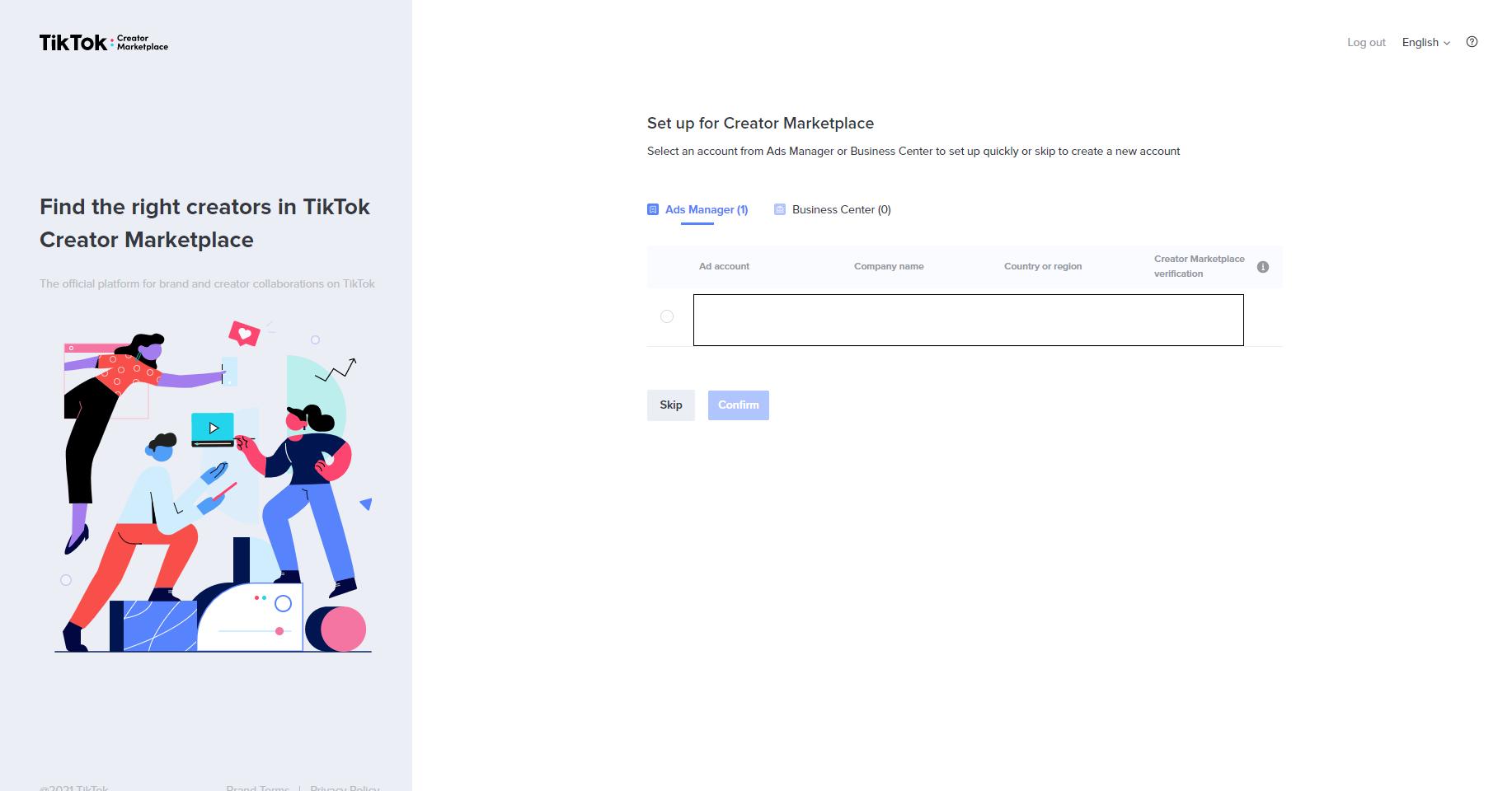 Setup Creator Marketplace Account Screenshot