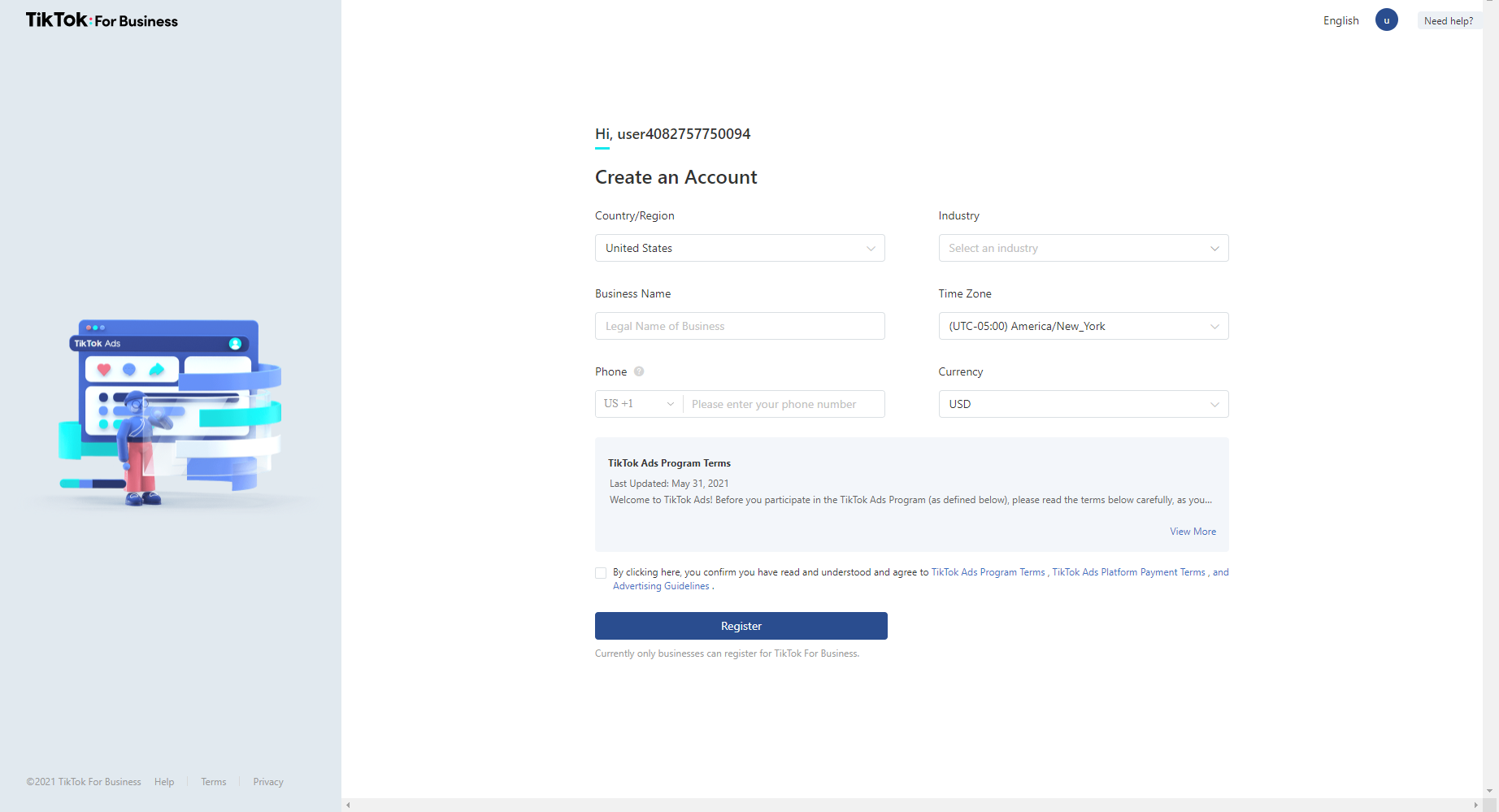 TikTok Ads Manager Registration Screenshot