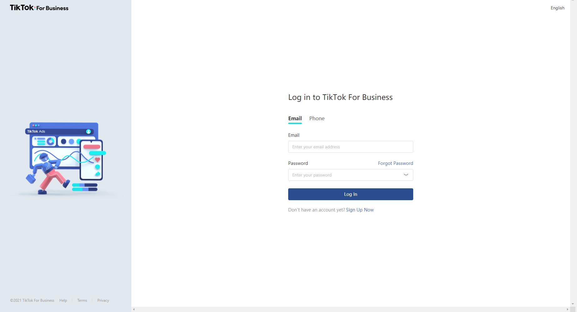 TikTok For Business Login Screenshot
